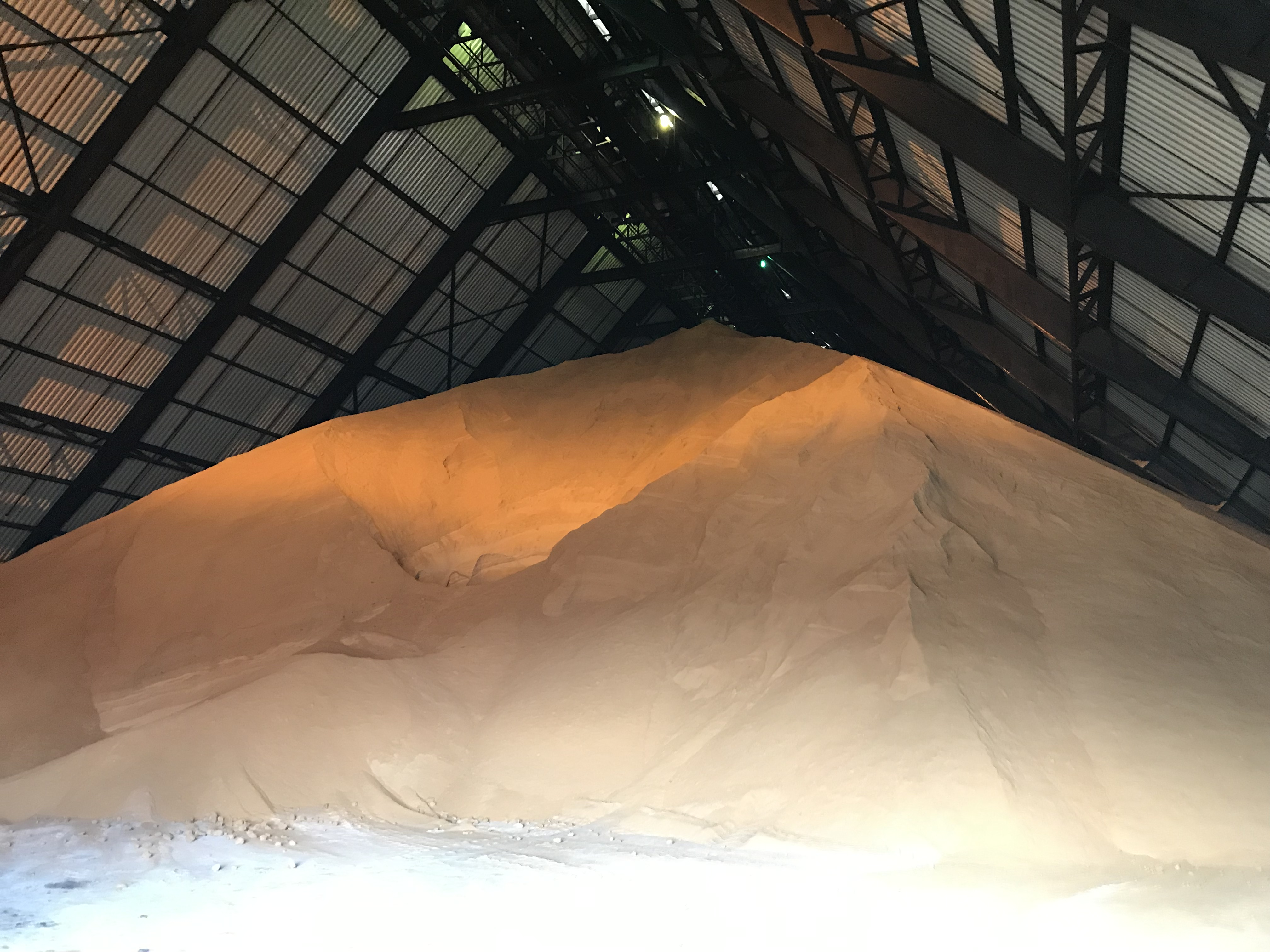 raw sugar stored in warehouse