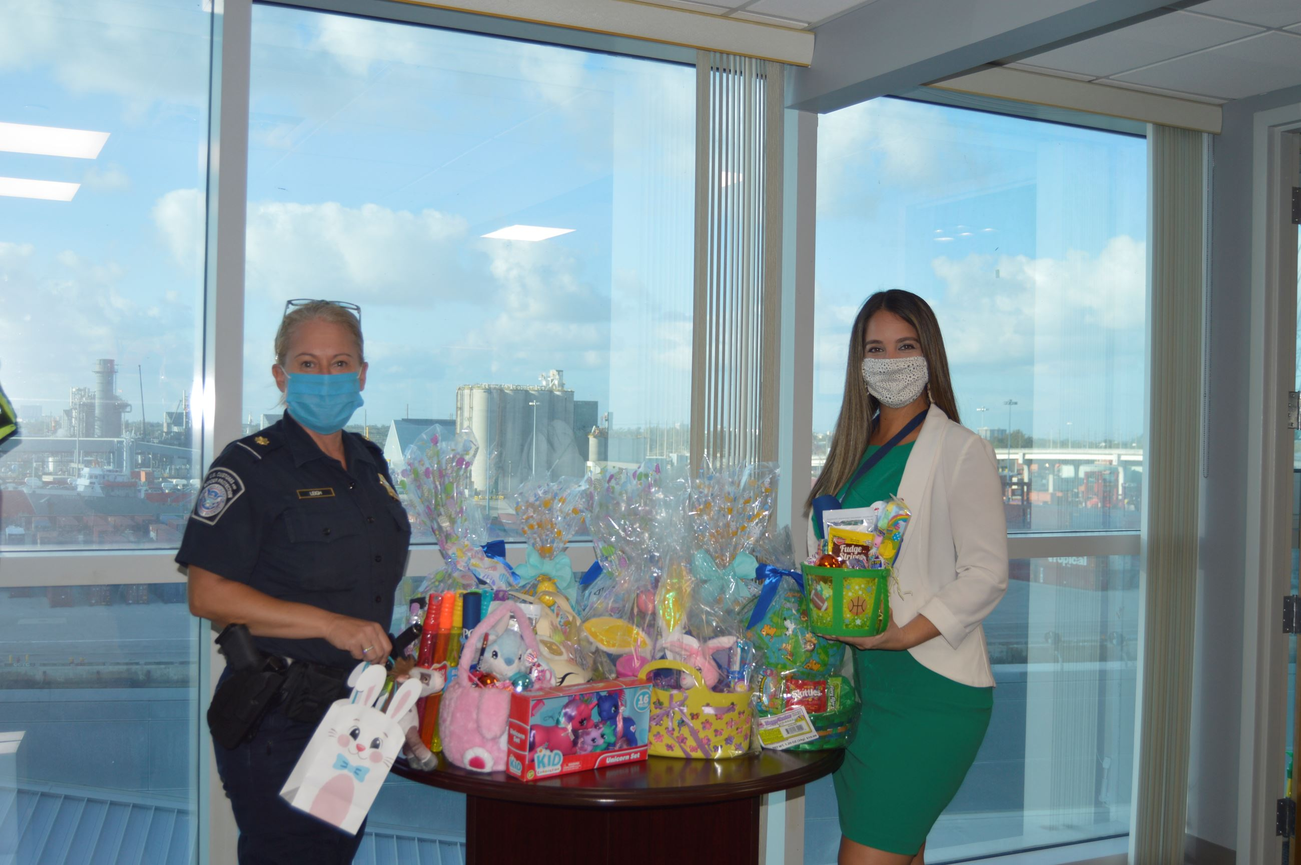 CBP's  Supervisory CBP Officer/ Chief of Staff Deirdre Leigh donating Easter goodies