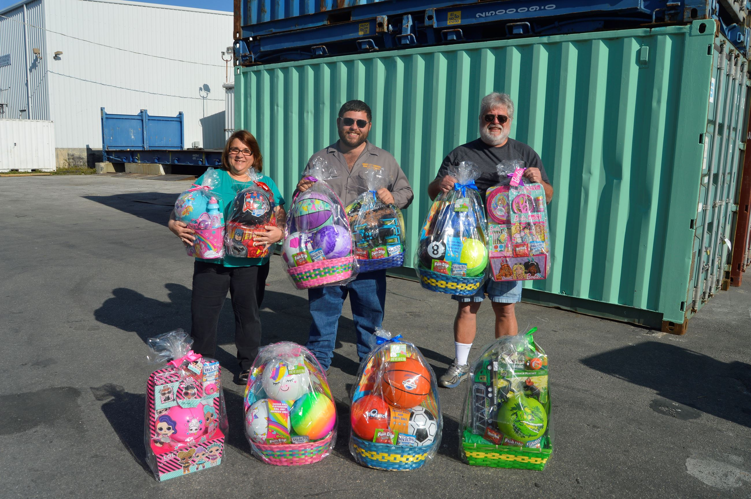 Easter baskets donated by Glen, Tina and Joey Dias with Gulfstream Line and Heavy Lift Services